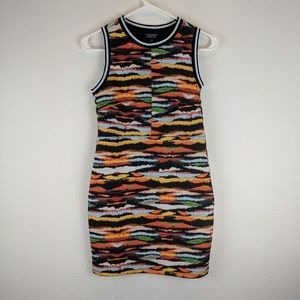 Topshop Abstract Print Bodycon Dress Size 4